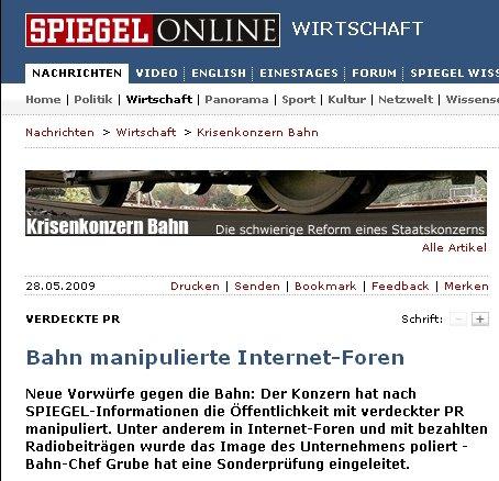 Spiegel Online: Bahn manipulierte Internet-Foren
